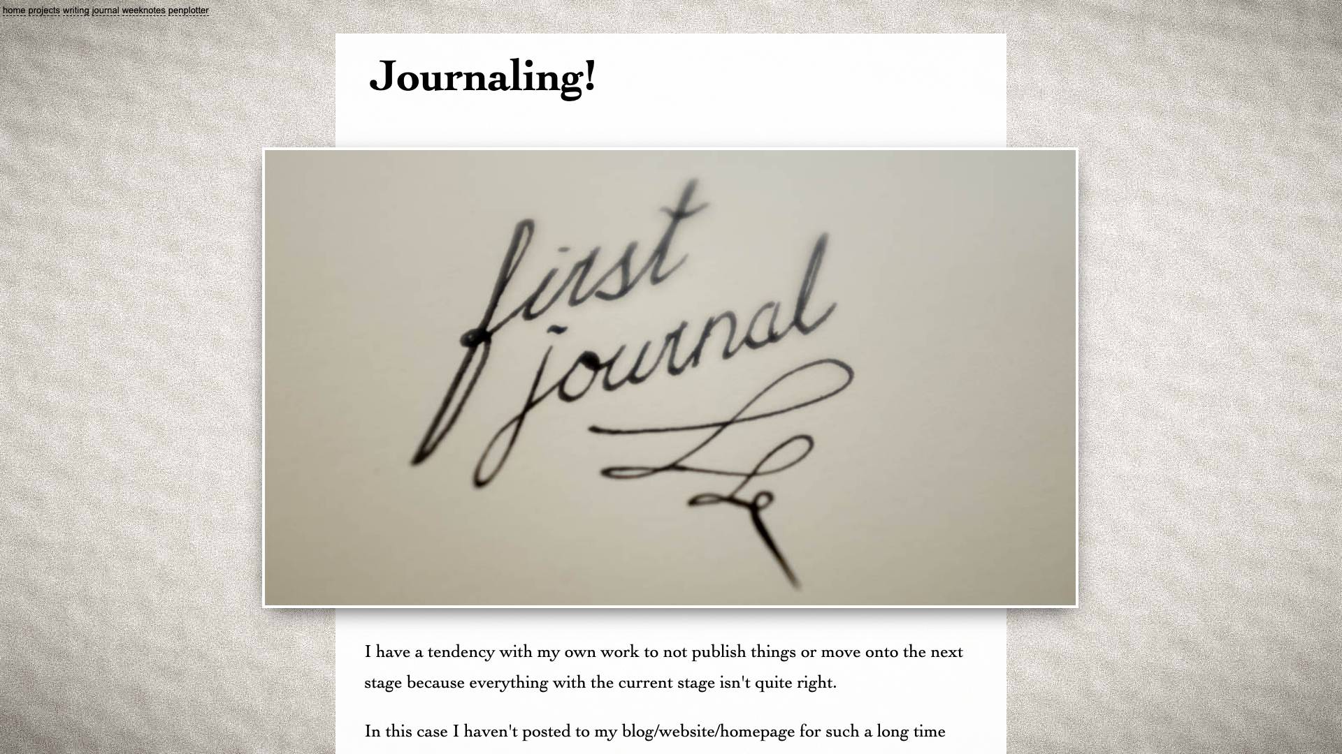 My first journal entry