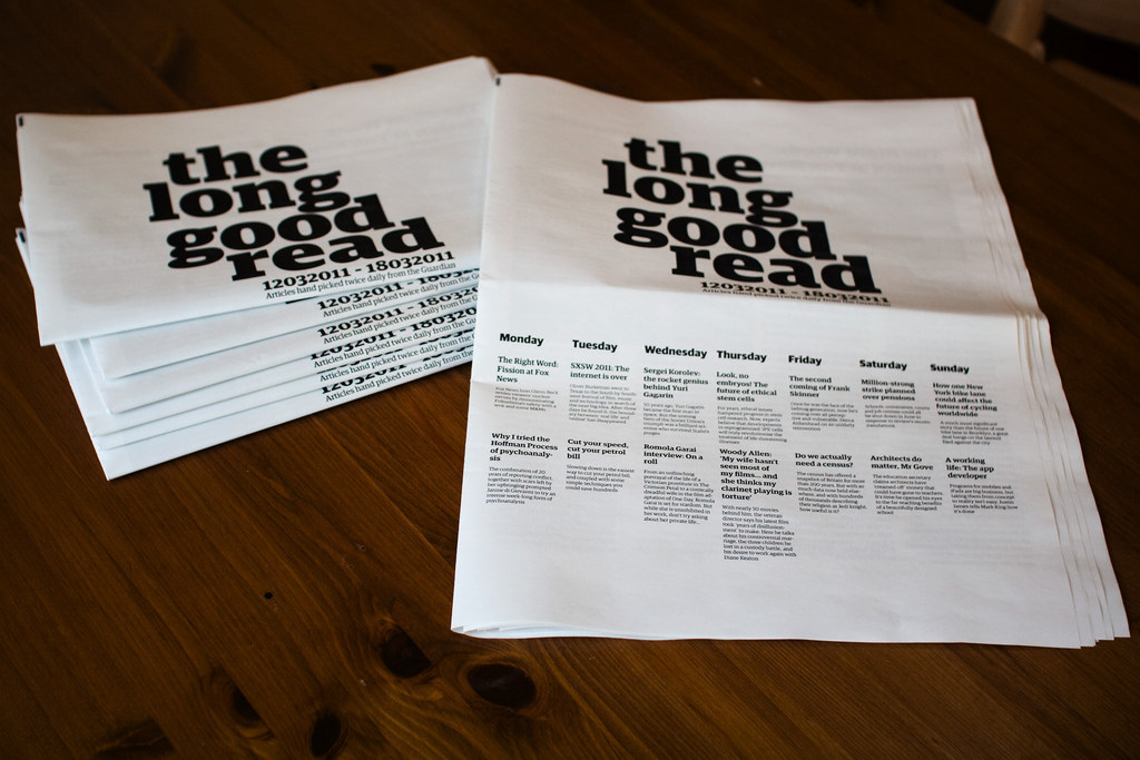 Long-Form Reading, Newspaper Club and the Guardian API