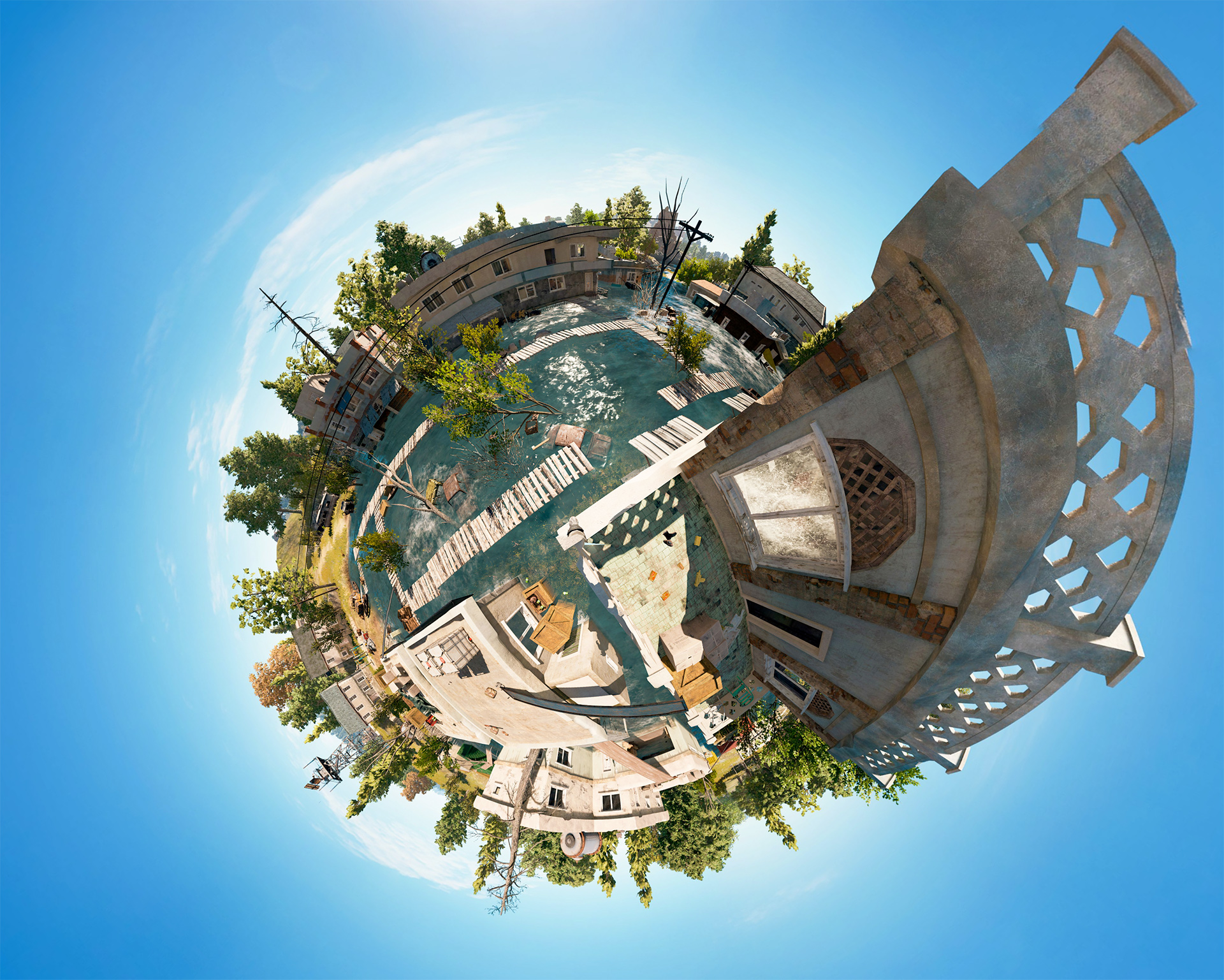 Water Town Tiny Planet View