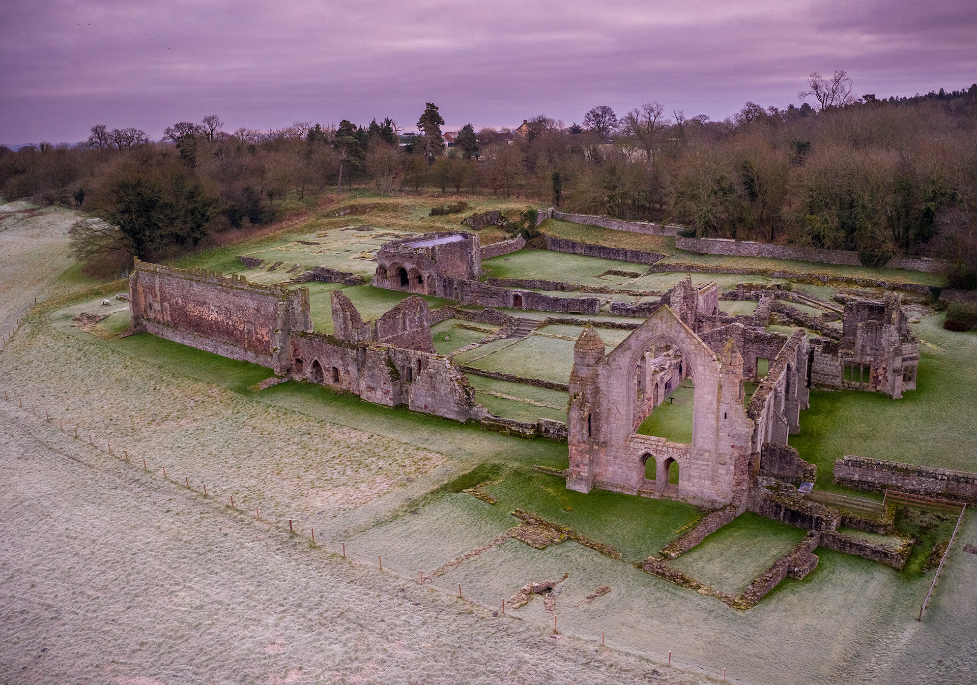 Haughmond Abbey from a drone